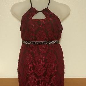 Red Rose Lace Gold Belt Maxi Dress